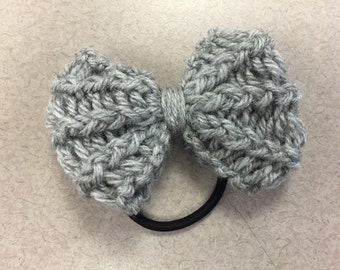 Silver Heather Knit Bow Hair Tie/Headband