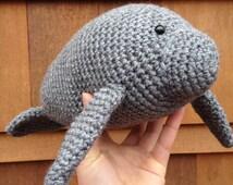 Handmade crochet manatee- stuffed animal manatee- knit plush manatee- handmade chubby sea cow- stuffed toy manatee