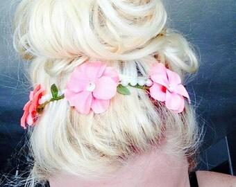 Pink Flower Pearl Headband