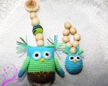 Crochet Owl Teether Teething toy Rattle owl  Owl pendant   Owl plushie Crochet birds Rattle Baby shower gift Stroller toy
