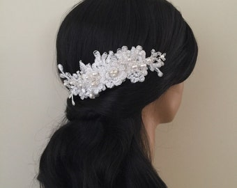 Bridal Hair Accessories, Wedding Head Piece, Ivory Lace, Pearl, Comb