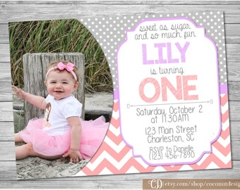 Girl First Birthday Invitation / First Birthday / Polka Dots / Chevron / Photo Invitation / 1st Birthday Invite / Digital File