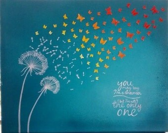 You may say I'm a dreamer... But I'm not the only one. 16x19in. Upcycled canvas wall art