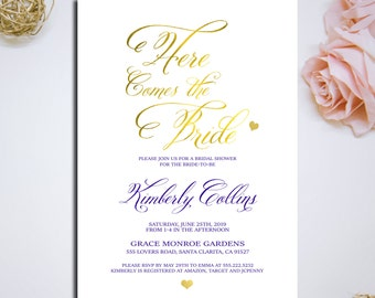 "Bridal Shower Invitation ""Here Comes the Bride"" Printable Bridal Shower Invitation caligraphy invitations Faux Gold Foil and Blue Invitation"