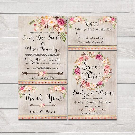 Floral Bohemian Wedding Invitation Printable