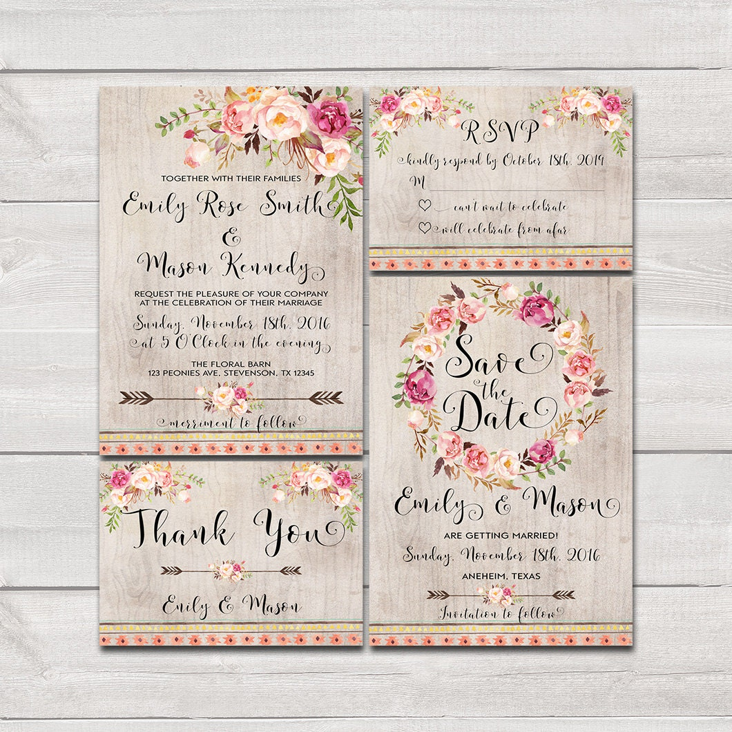 Printable Wedding Invitations: Floral Bohemian Wedding Invitation Printable Wedding