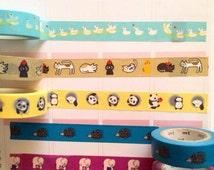 "24"" Animal print washi tape sample, ducks washi, cats washi, panda washi tape, hedgehog washi, elephants washi"
