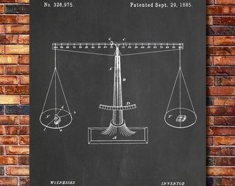 Scales of Justice Patent Print Art 1885
