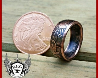 Walking Liberty Hancrafted 1/4oz .999 Fine Copper Coin Ring