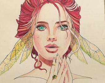 Art Nouveau Fairy Fantasy Female Portrait in Colored Pencil and Marker
