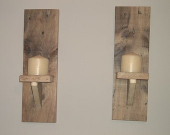 Wood wall sconces, wall candel holders, wood candle holders. wall sconces