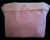 Baby Pink Gingham Fabric Storage Box