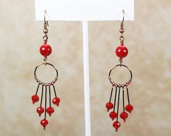 Red Wire Earrings. Red Dangle Earrings. Chandelier Drop Earrings. Red Chandelier Earrings. Long Drop Earrings. Long Red Earrings. Earrings