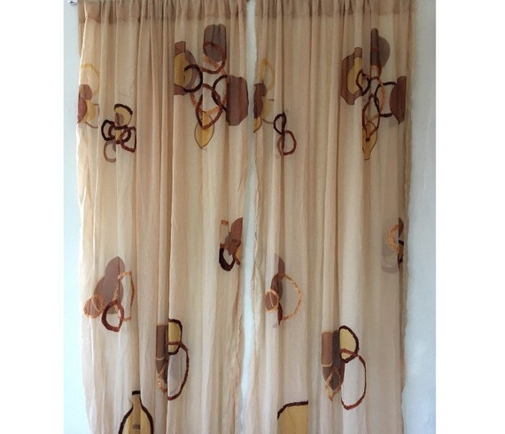 Retro Panel Curtains Sheer Long Drapes Brocaded Curtain