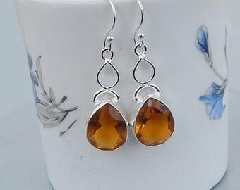 On Sale Yellow Citrine Gemstone 925 silver Dangle Earrings Jewelry