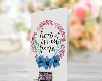 Home Sweet Home Pastel Pink Blue Flowers Wreath 5x7 inch Folded Greeting Card - GC1004