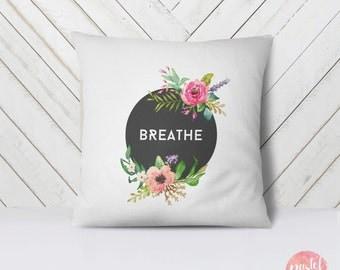 Breathe Black Background Pastel Flowers - Throw Pillow Case, Pillow Cover, Home Decor - TPC1023