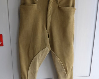 Antique English mens military khaki cotton jodhpurs riding breeches size 72 76 92 by Compton Sons and Webb