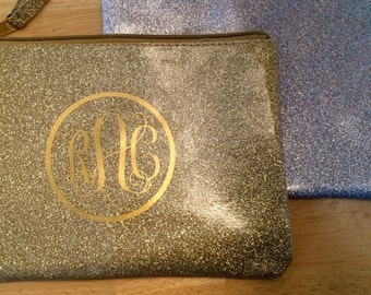 Glitter Monogrammed Zip Pocket Makeup or Pencil Pouch