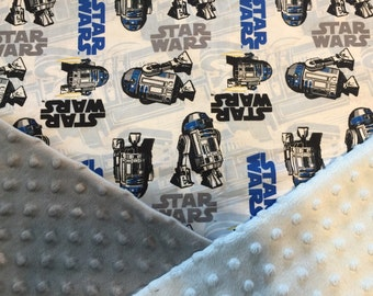 Personalized STAR WARS R2D2 Minky Baby Blanket