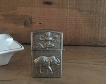 Silver Zippo Lighter with Elephants and Hindu Goddess, Flip Top Lighter, Tobacciana, Vintage Siam Thailand Lighter, Collectible Lighter