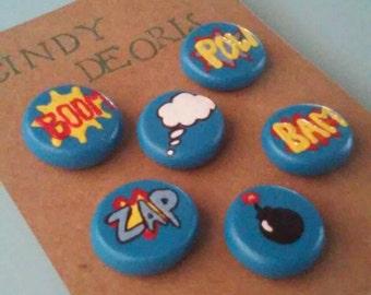 Comic book thumbtacks push pins