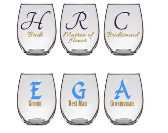 Personalized Initial with Title, Stemless Wine glasses for the wedding party.  Bridesmaids, maids of honor, best man, groomsmen - 4 glasses