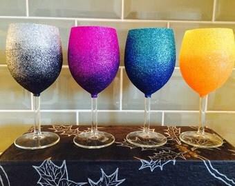 Set of 4 Ombre Glitter Wine Glasses