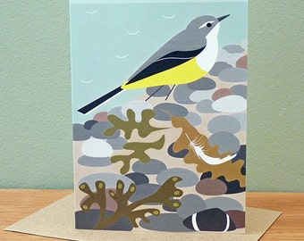 Grey Wagtail on the Beach Greetings Card
