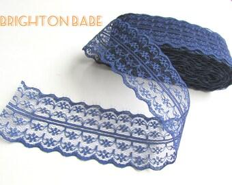 "2.5 yds Navy BLUE burlap lace trim 1 3/4"" 45 mm, shabby chic dark blue lace. UK Seller"