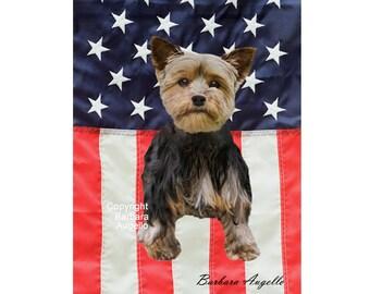 Yorkie Patriotic Flag, Yorkie American Flag, Yorkie Gift, Yorkie Art, Yorkie, Yorkshire Terrier