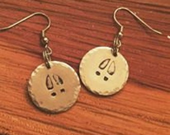 Buck Track Hand Stamped earrings- Birthday Gift - Gifts for Her - Female Hunter - Huntress - Girls Who Hunt - Hunting