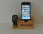 Phone  apple watch holder engraved personalised gadget gift iPhone dock wooden charging station stand