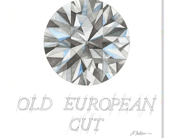 Old European Cut Diamond Watercolor Rendering printed on Canvas