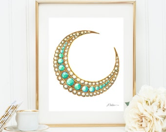 Victorian Turquoise and Pearl Cresecent Moon Brooch Watercolor Rendering printed on Paper