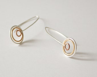 Delicate Mixed Metal Wire Earrings, Concentric Circle Earrings