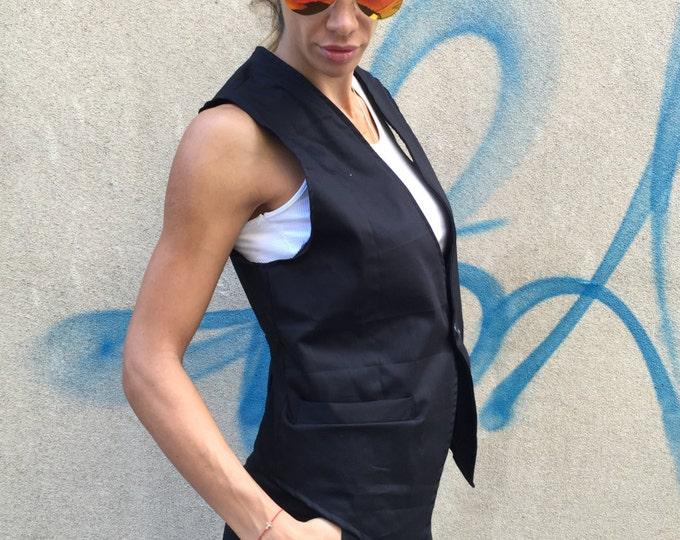 Elegant Black Vest, Extravagant Sleeveless Vest, Asymmetric Vest, Black Cotton, Fashion Vest By SSDfashion