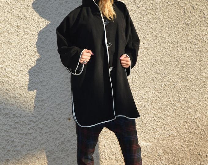 Woman's Hooded Black Coat, Extravagant Cashmere Coat, Asymmetrical Black Long Sleeves Blazer By SSDfashion