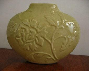 Flower Vase 'Floral Design' Ceramic Glazed Pottery.