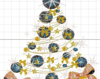 machine embroidery Christmas tree