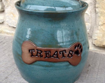 Dog Treat Jar, pottery dog treat canister