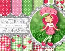 50% OFF SALE Strawberry Shortcake Papel Digital Scrapbook, Strawberry Shortcake Clipart, Strawberry Paper, Strawberry Clipart