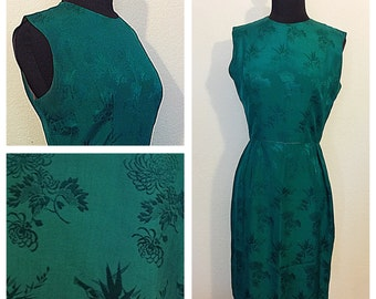 Original Vintage 1950's Emerald Dress with Asian Bamboo and Flowers Patterns, Original 50's Dress, 50's Green Wiggle Dress, Size: Small.
