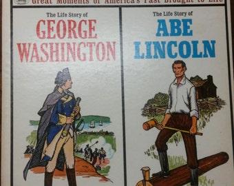 Storyteller Record Series 1970's LP Album George Washington Abraham Lincoln