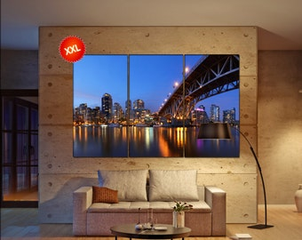 Granville Bridge and Downtown Vancouver canvas art prints large wall art canvas print Vancouver Wall Home office decor interior Office Decor