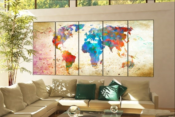 world map art print  print on canvas wall art world map art Print artwork large world map art print office decor home decoration 5 panel