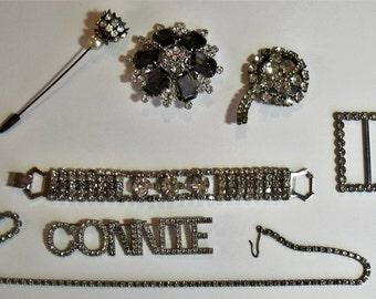 Vintage Lot Jewelry Finding Destash Craft Supply Rhinestone Juliana D&E  Connie Brooch    Bling j256