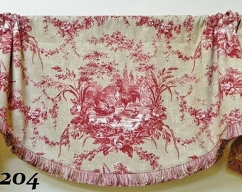 Waverly La Petite Ferme Window Valance/Scalloped Rod Pocket Valance/Brush Fringe Trimmed Valance/French Country Curtains/Red and Gold