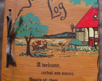 Wooden Guest Book,  Guest Log, Souvenir of  Quebec