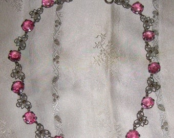Antique Czechoslovakian Pink Crystal and Silver Filigree Necklace, Choker